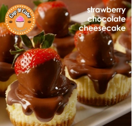 Baby Strawberry Chocolate Cheesecake Cupcake - Çilekli Çikolatalı